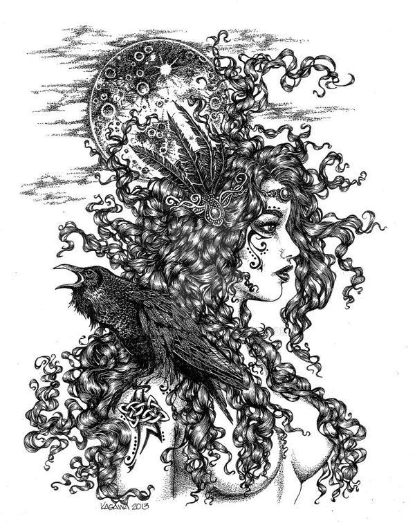 the morrigan goddess with raven by lkburke29 on deviantart. Black Bedroom Furniture Sets. Home Design Ideas