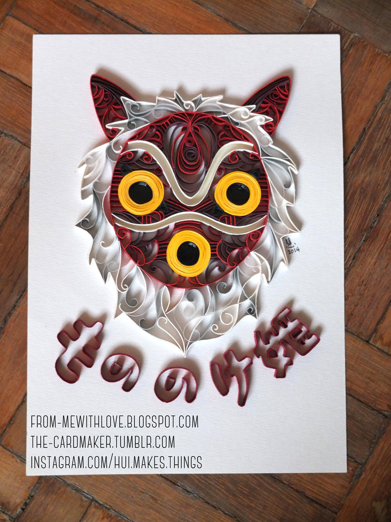 Mononoke Hime: Quilled Mask by aria-arissa