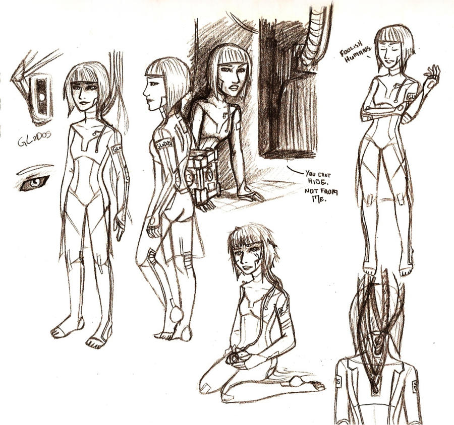 Portal - GLaDOS Sketchdump (v2) by Brainiac6Techgirl