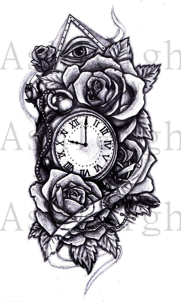 pocket watch and roses by tattoosbyashleigh on deviantart. Black Bedroom Furniture Sets. Home Design Ideas