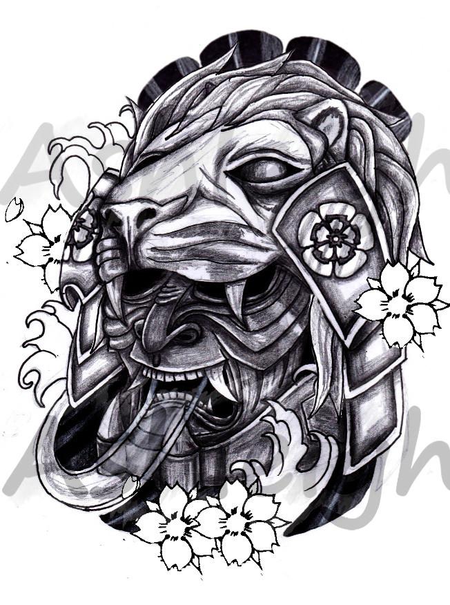 japanese lion mask by tattoosbyashleigh on deviantart. Black Bedroom Furniture Sets. Home Design Ideas