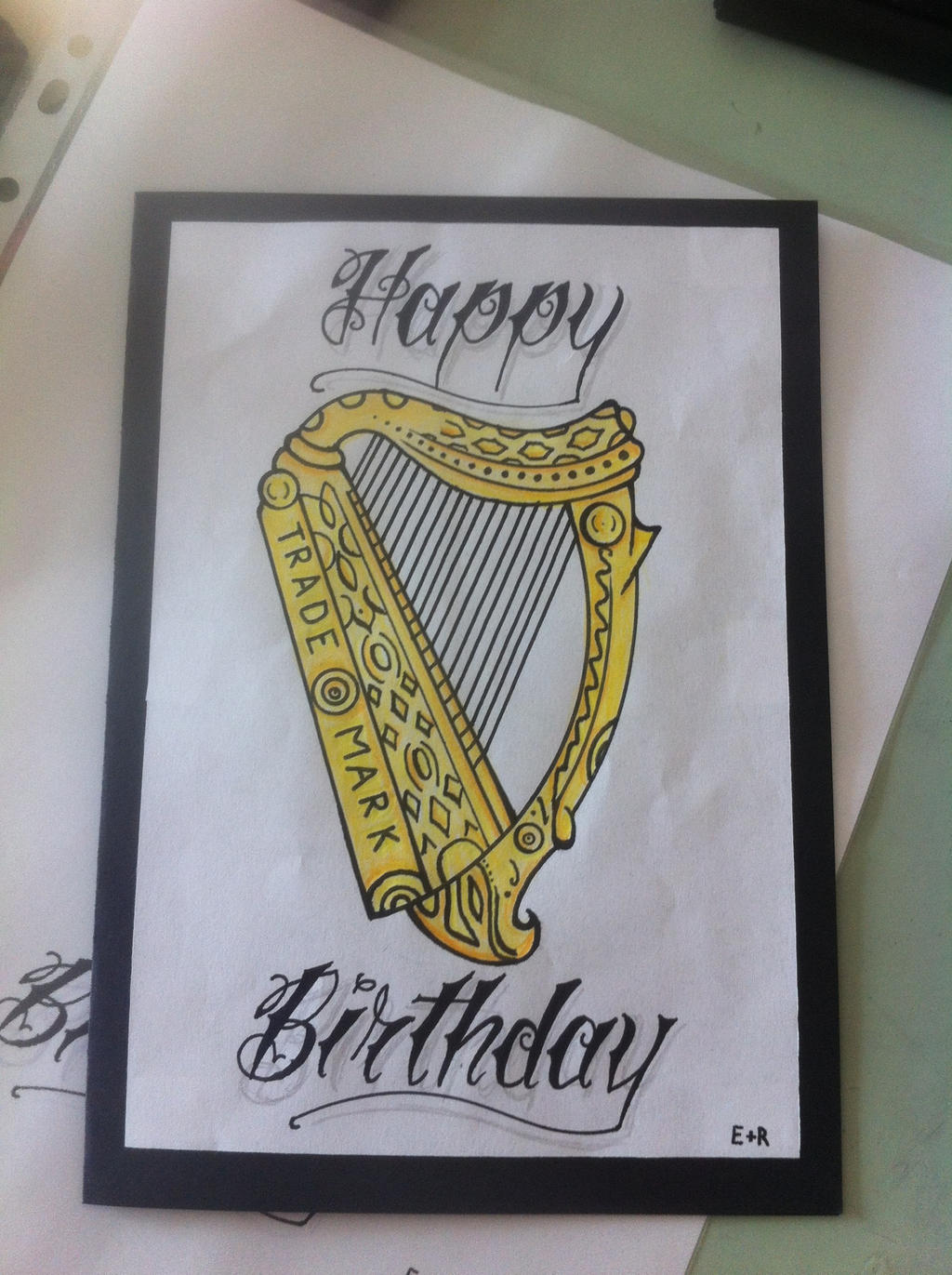 guinnes harp birthday card tattoo style by ricogrande on deviantart, Birthday card