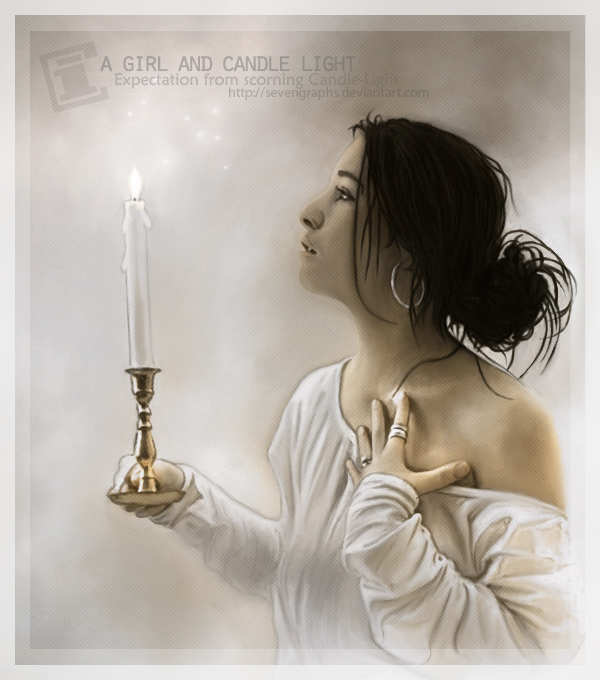 a girl and candle-light by sevengraphs
