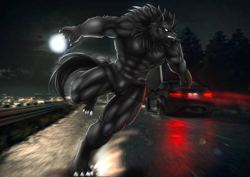 Ohmes, The Werewolf - Running at the road