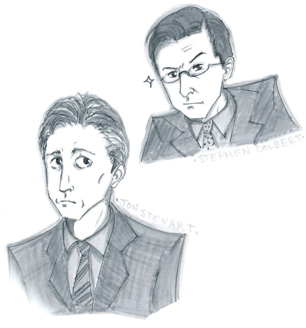 Stewart and Colbert by robinaker