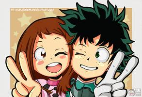 Ochako Uraraka and Izuku Midoriya. by Locke3K