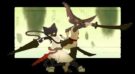 Feline swordsmen