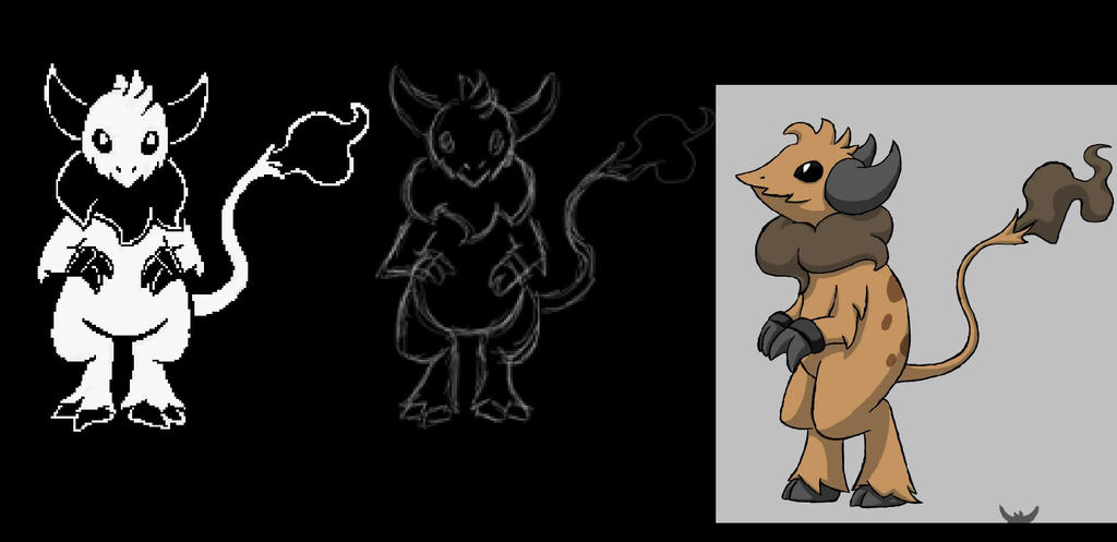 Demon ox battle sprite example by Crystalitar