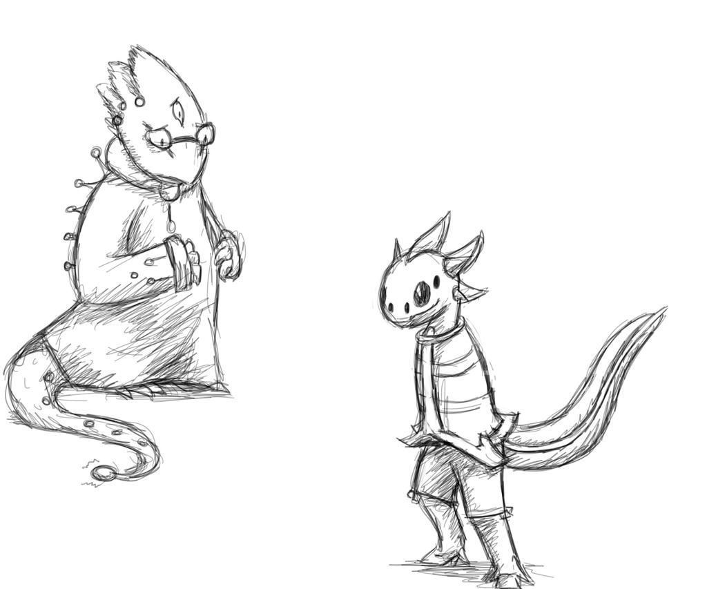 Alientale Alphys and monster kid by Crystalitar