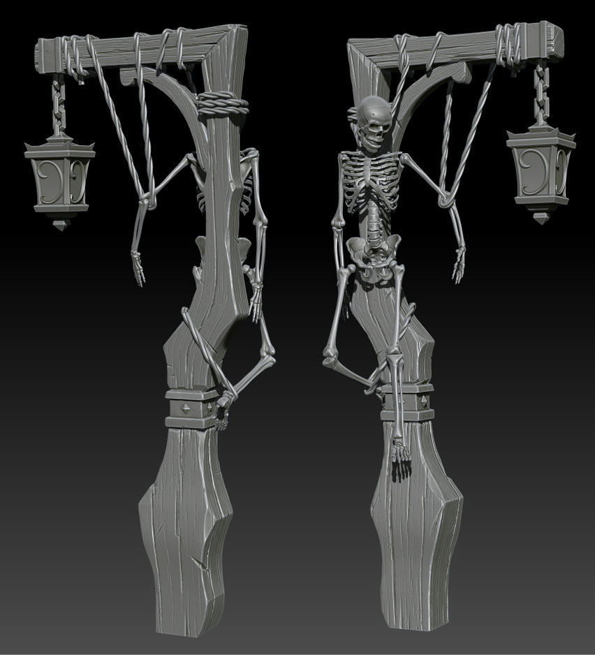 Lamp And Skeleton On Zbrush By Ganooon ...