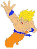 SSJ Goku About To Blast by Disturbed-Minded