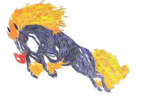Flaming Horse Colored by Disturbed-Minded