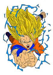 SSJ 3 Goku Redone by Disturbed-Minded