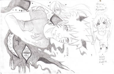 Lil' Naruto inside Big demon by animangaboy