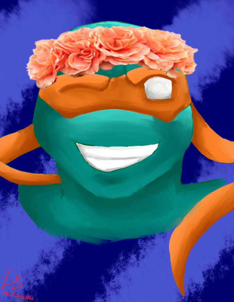 Turtles and Their Flower Crown - Michaelangelo by autobot2