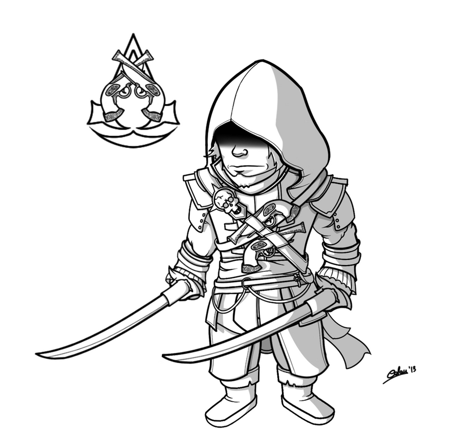 Assassin S Creed 4 Black Flag Cartoony Lineart By Colan86