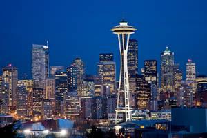 Seattle Skyline At Twilight 1 by AaronPlotkinPhoto