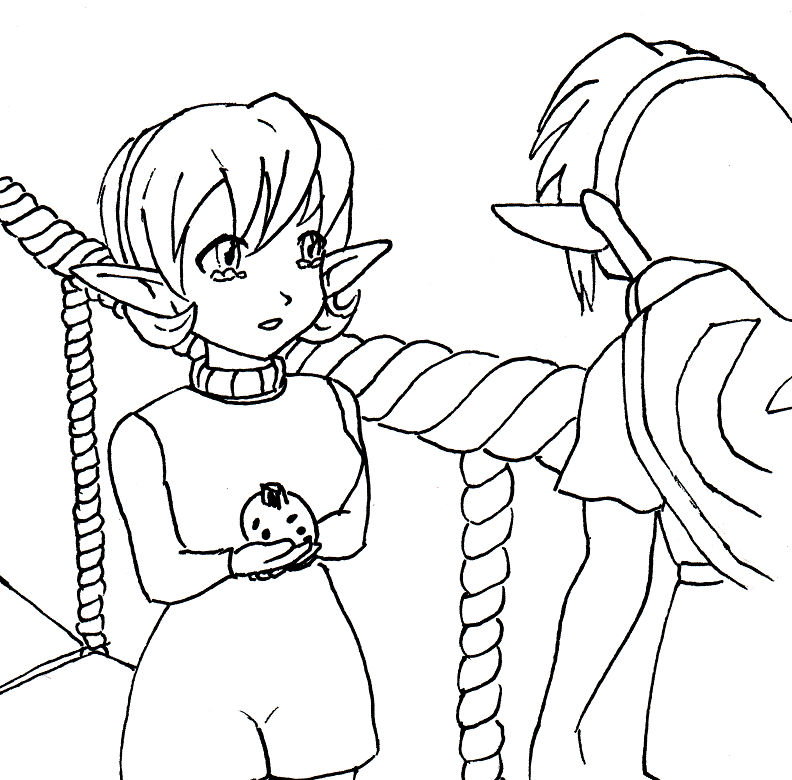 Saria and Link goodbye lineart