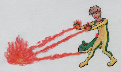Quill and Cinder as superheroes 7: flamethrower