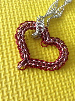 Red and Pink Chainmail Heart Necklace