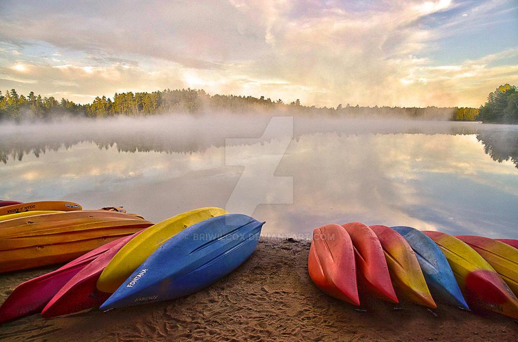 Kayaks Shoreline HDR 12x18 200dpi by briwilcox