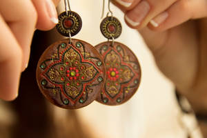 Leather earrings - tracery! by valentinnikolaevich