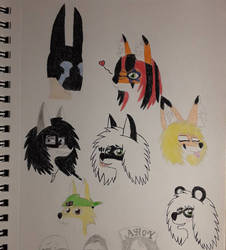 Punk Furs OCs sketches plus Panda