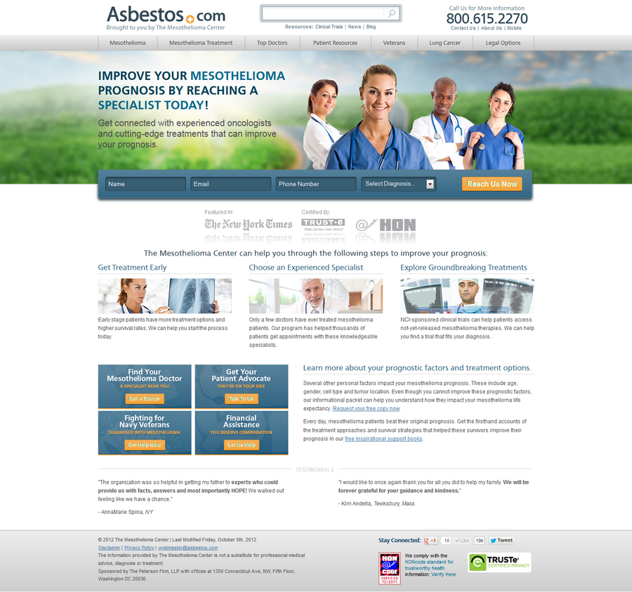 Improving Mesothelioma Prognosis  Landing Page by ericr33914 on DeviantArt