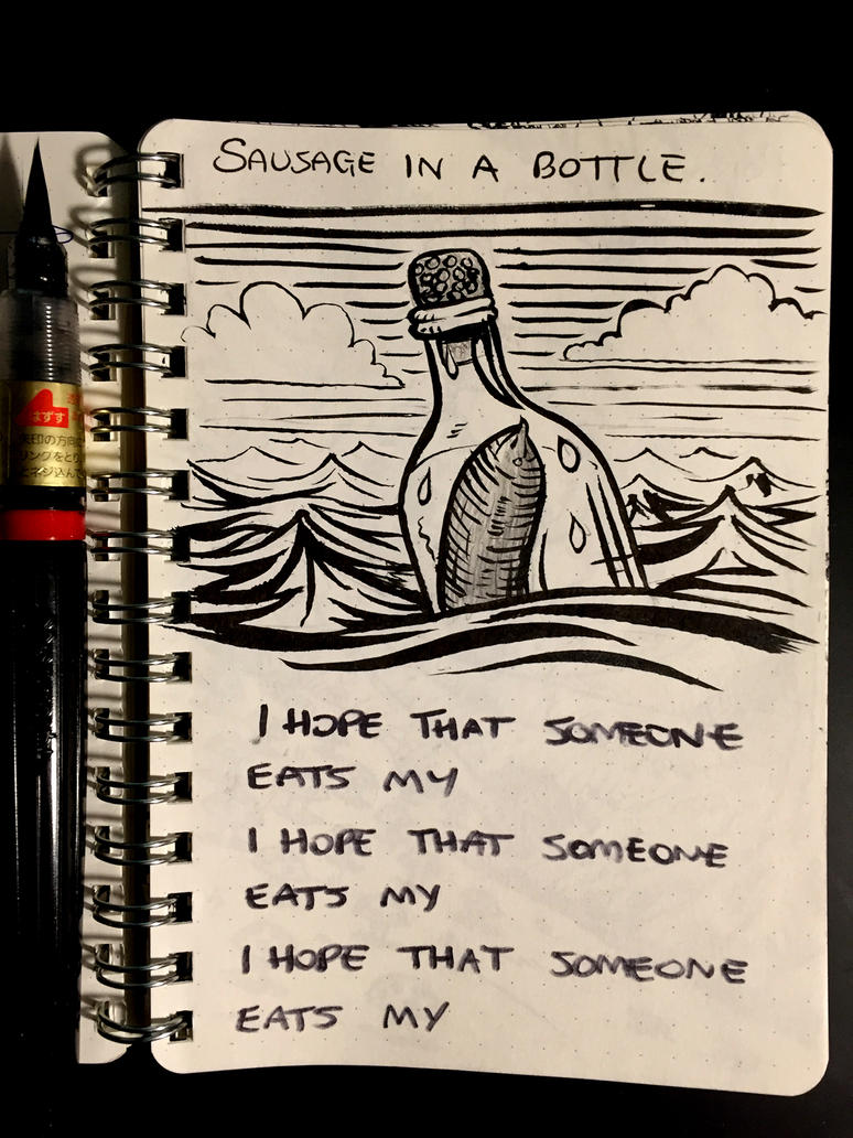 Inktober 18: Bottle by Size-And-Stupidity
