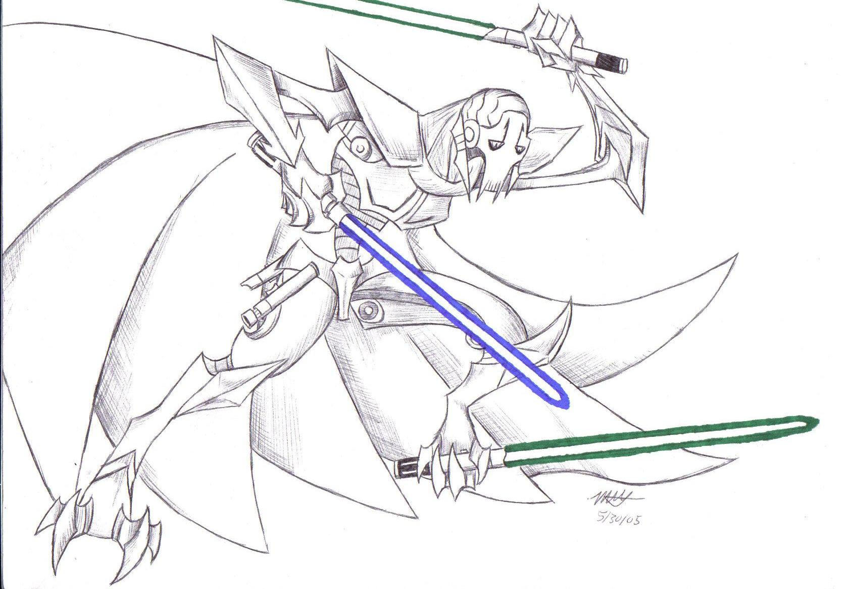 General grievous by ragnarokdragon on deviantart for General grievous coloring page