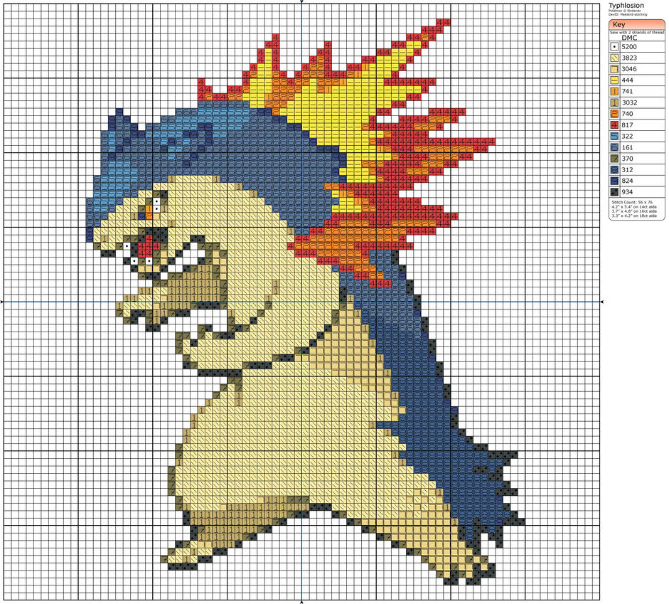 Charmander Pixel Art Template 157 - Typhlosion by