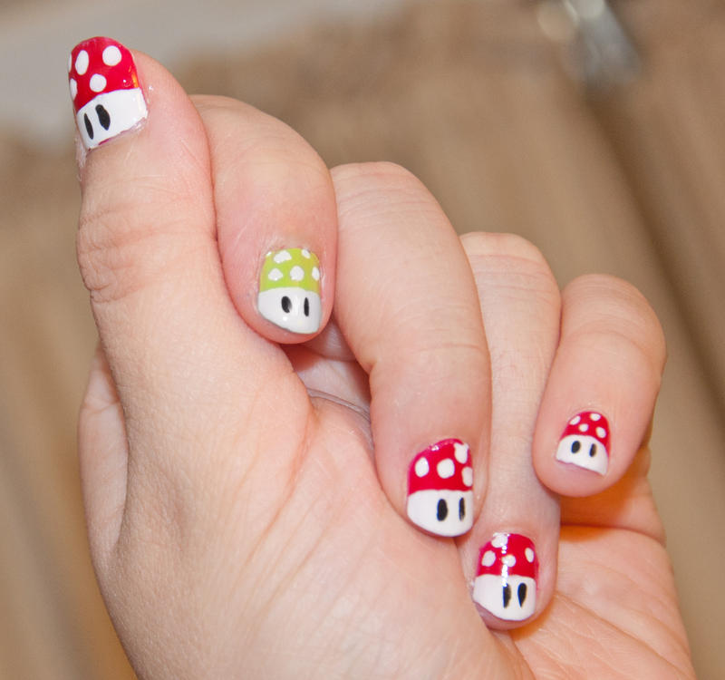 mario mushroom nails by violetztarz on DeviantArt