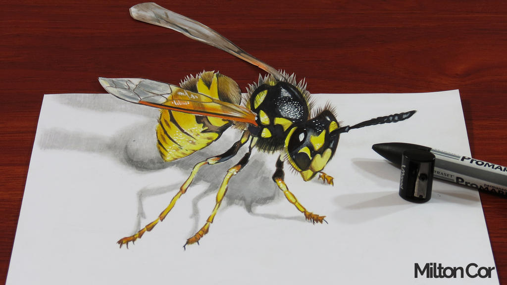 3d wasp drawing by miltoncesar on deviantart for 3d drawing online no download