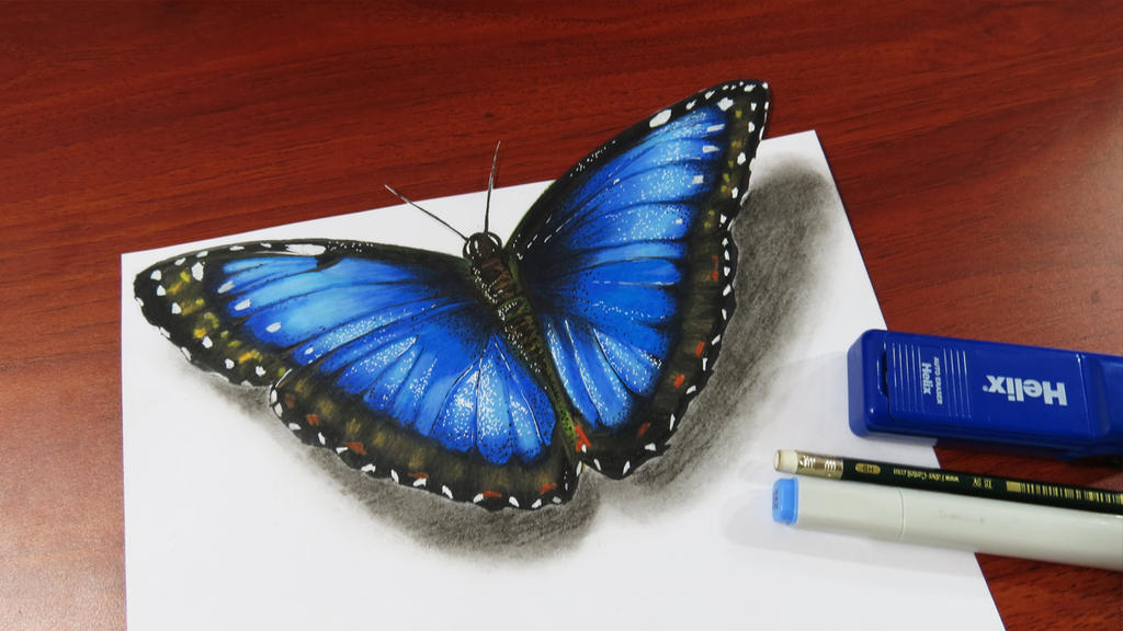 Fast drawing a realistic butterfly by miltoncesar on for How to make a butterfly drawing