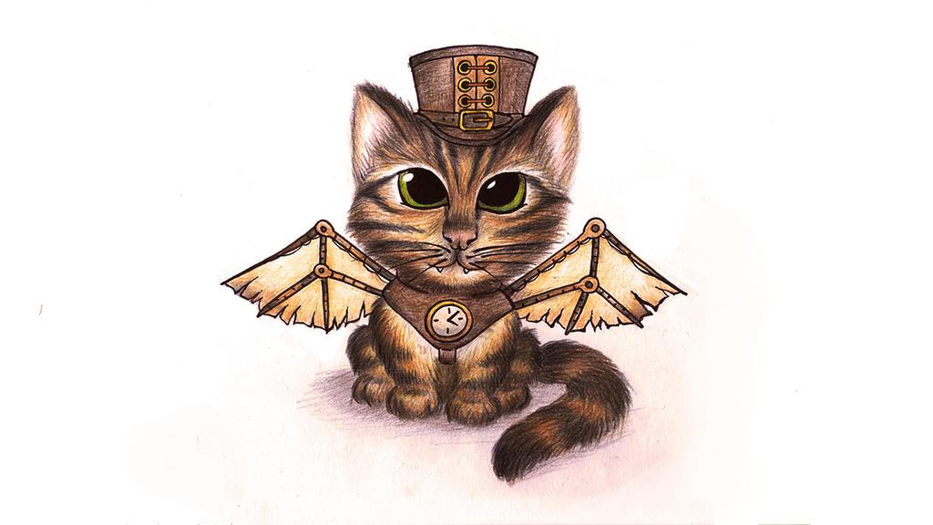 Steampunk kitten by SquareBugArt