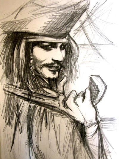 jack sparrow-sketch by kittrose