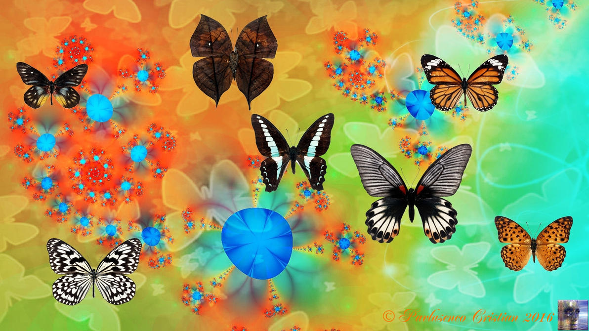 Blue blosoms and butterflies by cristy120377