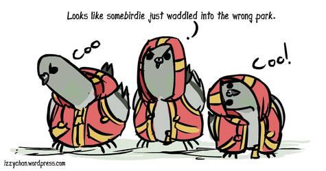Pigeons in hoodies