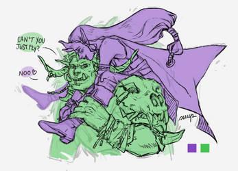Orruk x Vutha sketch (rpg oc) by sara-scmp