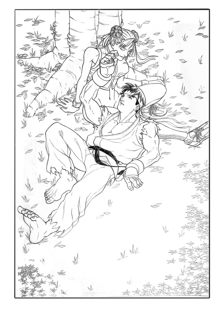 Ryu and Chun-li love by robertojales