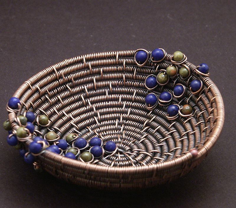 Copper Wire Coiled Bead Bowl by WiredElements