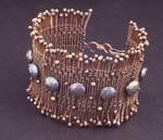 Woven Copper Wire Pearl Cuff