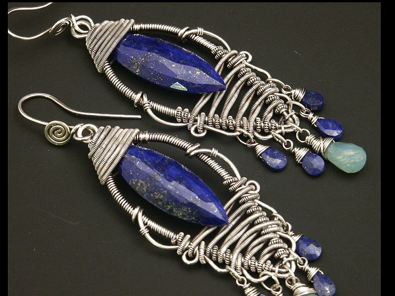 Lapis and Silver Leaf Earrings with Peruvian Opal by WiredElements