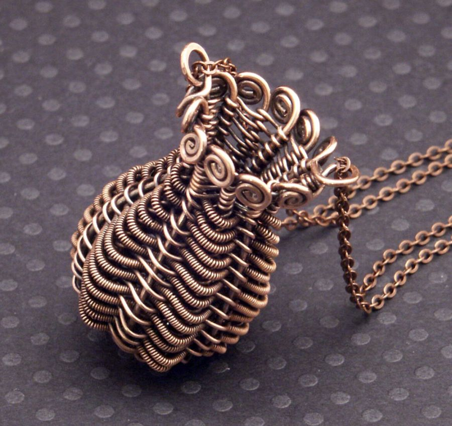 Twined Copper Basket Pendant by WiredElements
