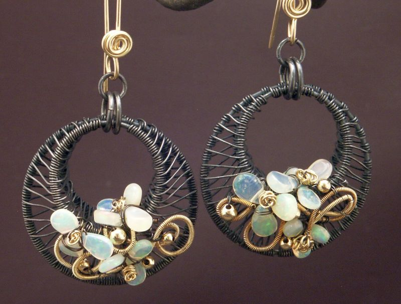 Woven Sterling and Opal Earrings by WiredElements