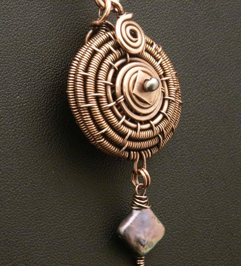 Copper Spiral Locket by WiredElements