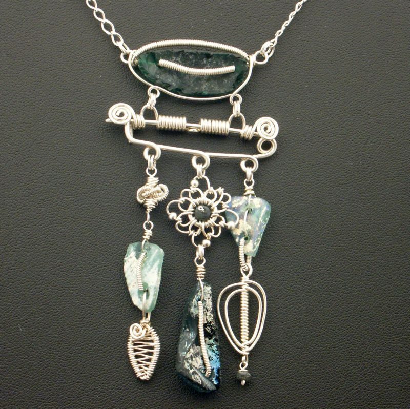 Roman Glass Necklace and Brooch by WiredElements