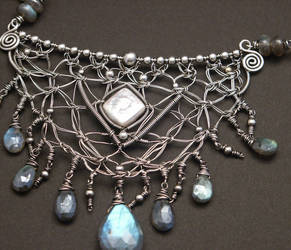 Fine Silver Wire Macrame and Labradorite Necklace by WiredElements