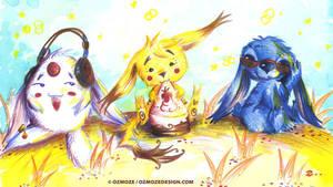 Mokona Pikachu Stitch (les singes de la sagesse) by Ozmoze-Land
