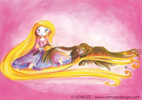 Princess Raiponce Disney and their Dog by Ozmoze-Land